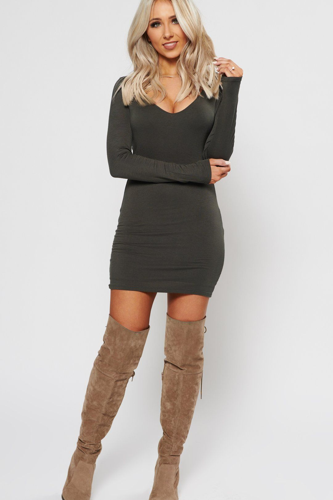 Stop Staring Bodycon Military Olive Dress Boots Outfit Fashion Dress With Boots [ 1620 x 1080 Pixel ]