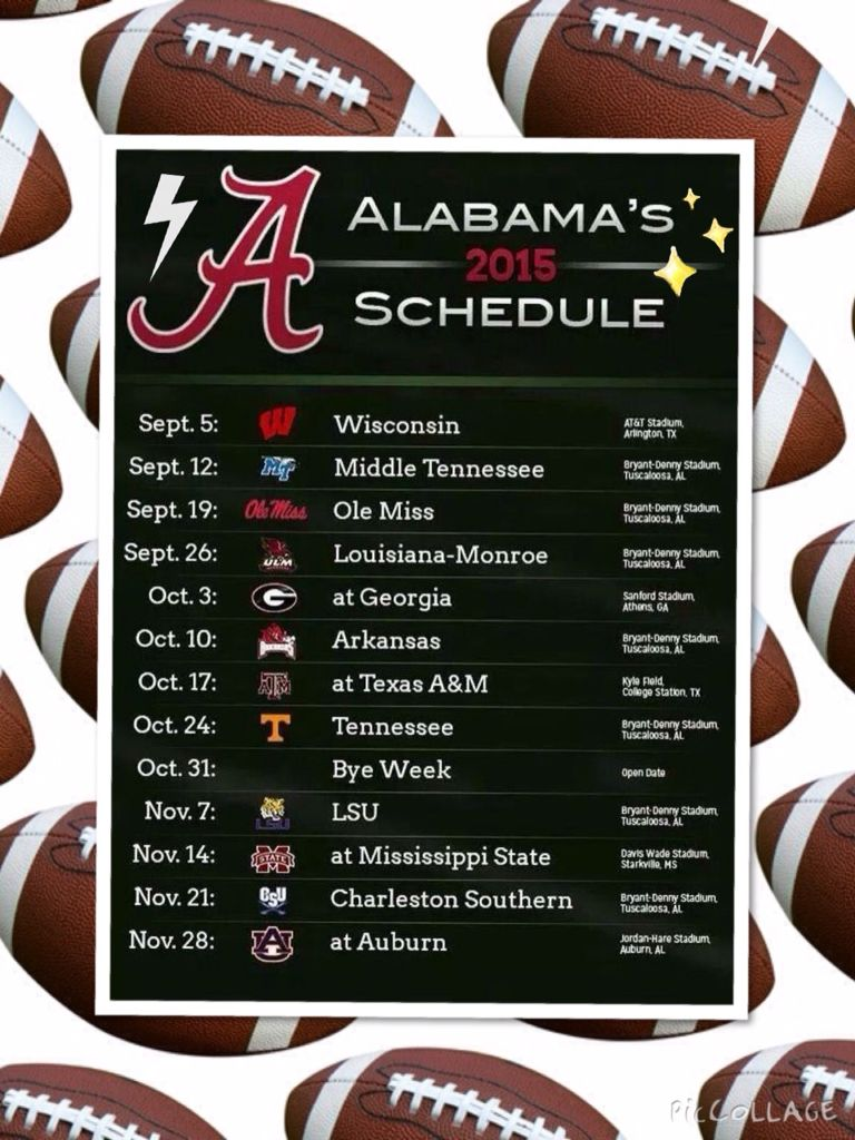Pin by Mertswife on Roll Tide Alabama football schedule