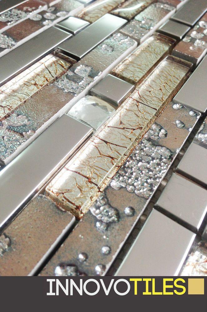 Innovo Crystal Gl Rugged Stainless Steel Olive Mosaic Tile Feature Bathroom