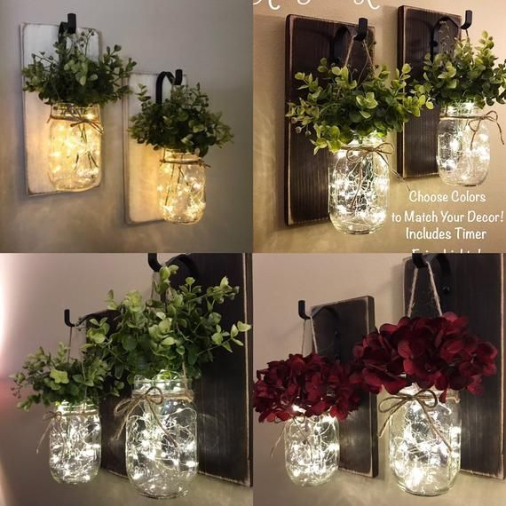 Home Decor,Set of 2 Mason Jar Sconces,Hanging Mason Jar Sconce,Mason Jar Decor,Wall Sconce,Rustic Home Decor,Mason Jar Sconce with Flowers