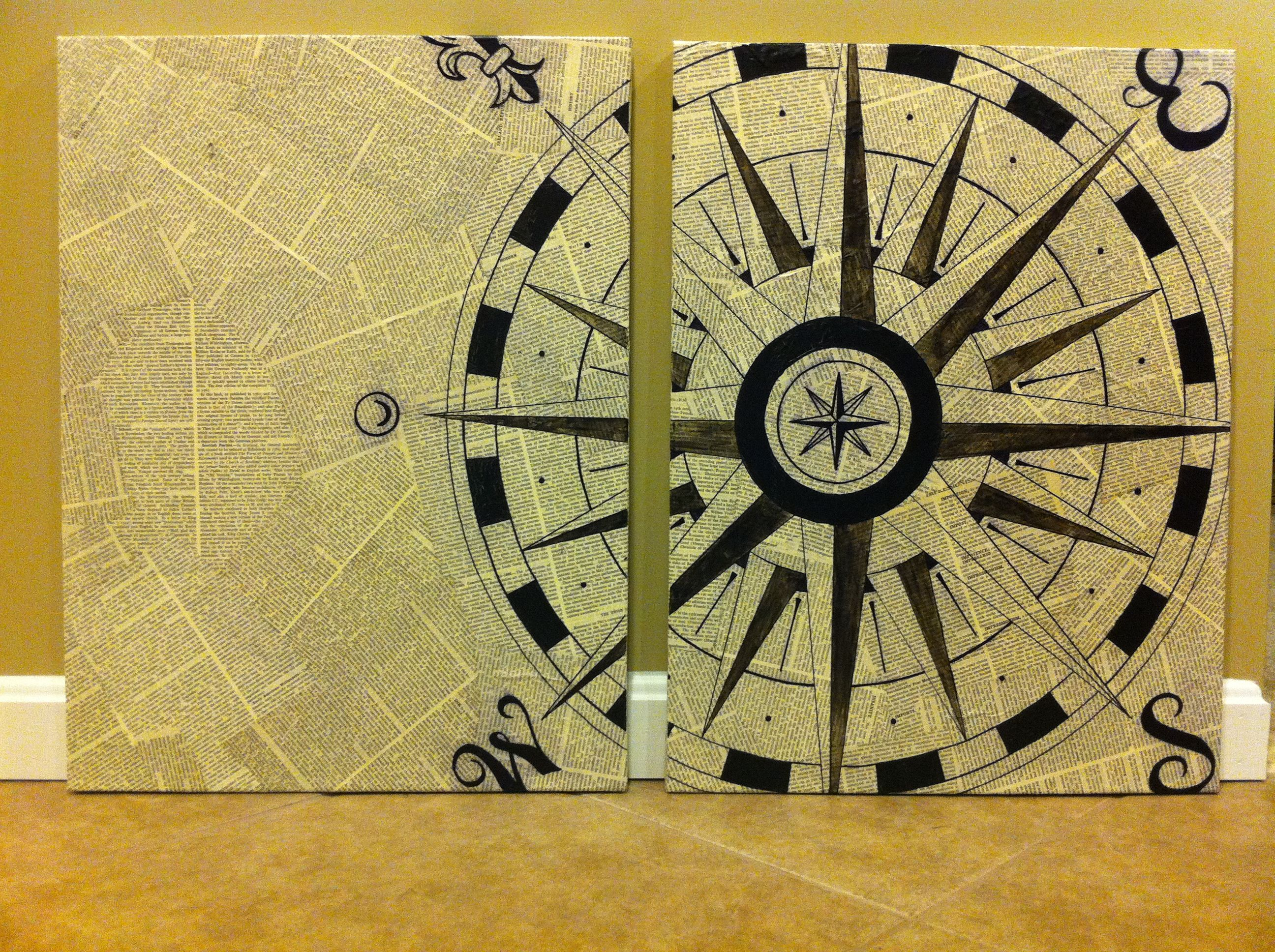 canvas+modge podge+old book pages+sharpie= awesome compass art ...