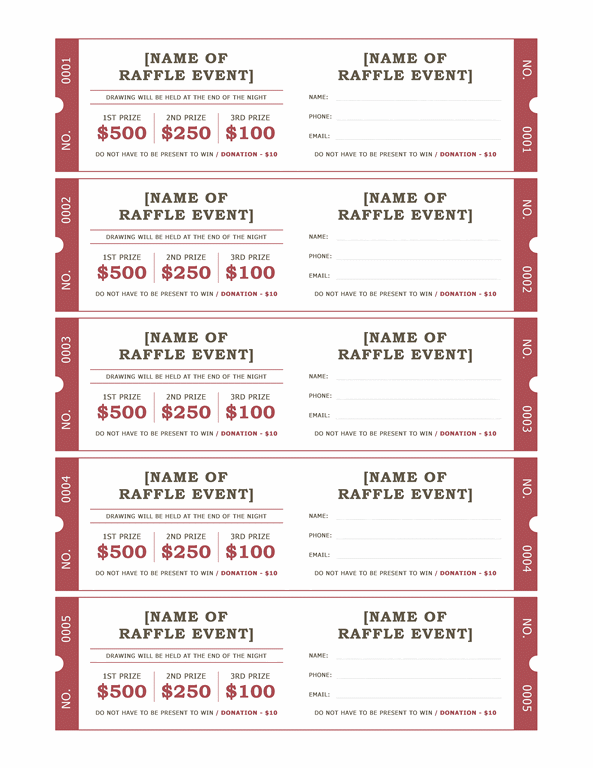 Raffle tickets Templates Office – Benefit Ticket Template