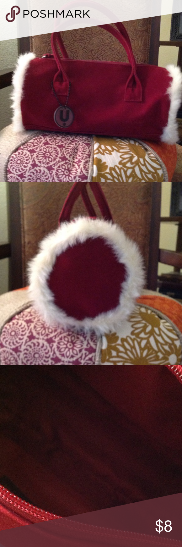 "Wine colored fur-trimmed  Purse 11"" long, 5"" wide, never used. Faux suede Fabric and zipper closure. Unlisted Bags Mini Bags"
