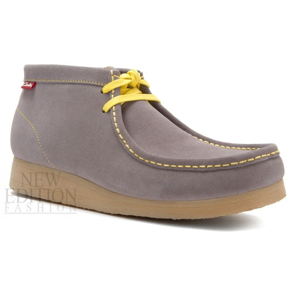 Clarks Stinson Hi Men's Wallabee Style Suede Casual Shoes 26100058  Grey-Yellow