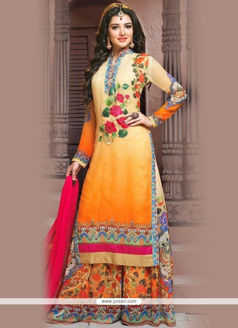 b06a510455f Fantastic Print Work Georgette Designer Palazzo Salwar Kameez Model  YOS8409