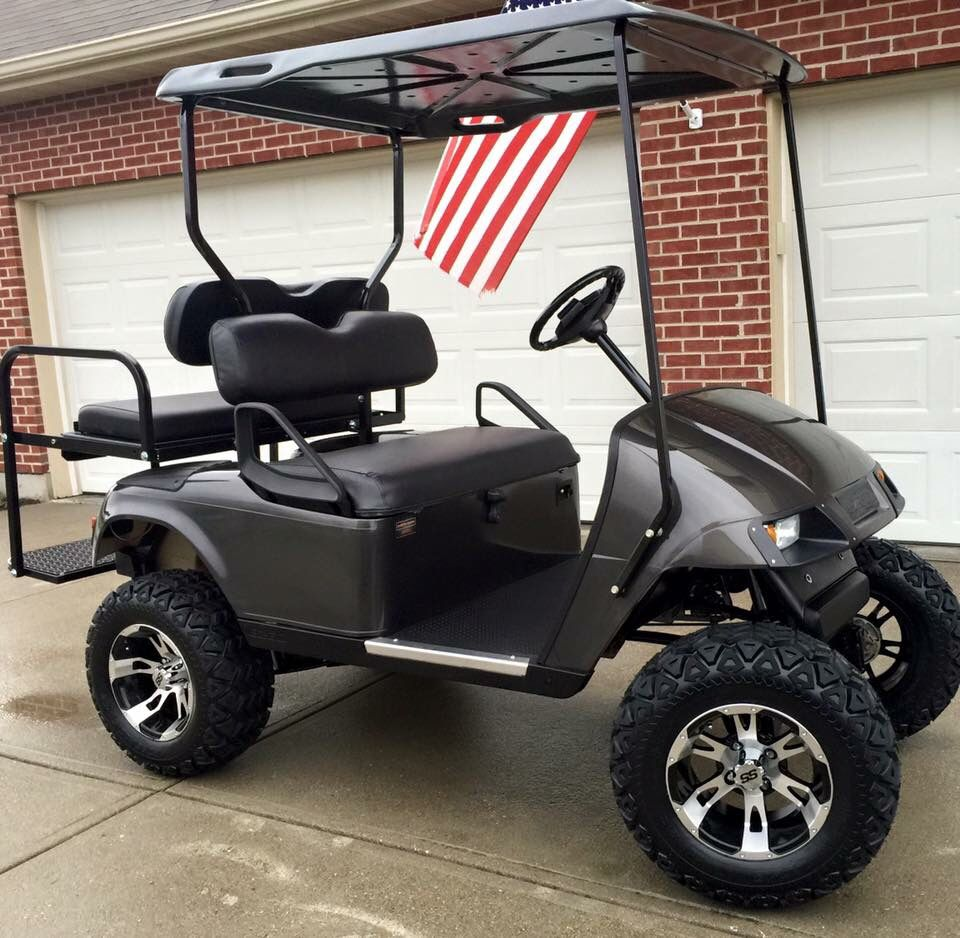 This 2002 EZGO TXT Gas-powered 4 penger golf cart is ready for ...  Inch Chrome Wheels Golf Cart on 1 4 inch steel wheel covers, 1 4 inch steering wheel cover, 1 4 inch solid rubber wheel, silver trucks w wheels,