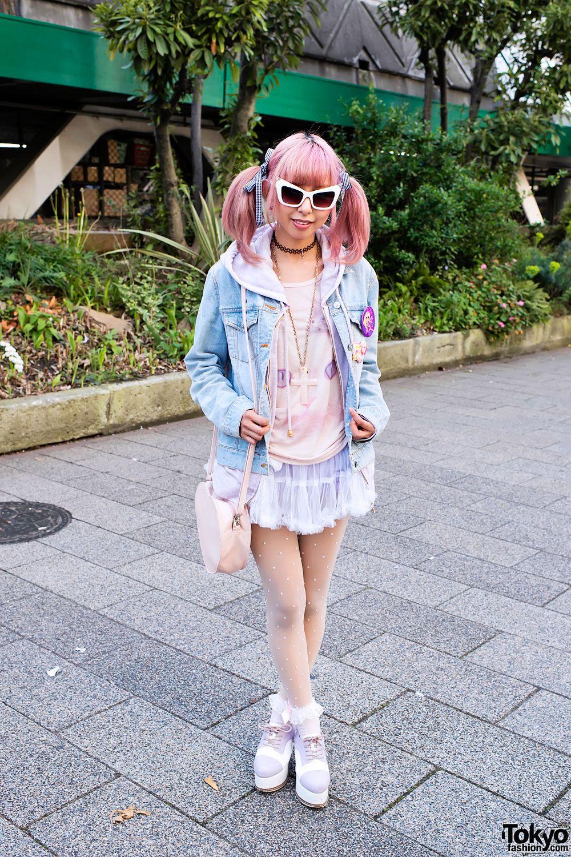 Denim jacket u tulle skirt in shibuya fashion pinterest tulle