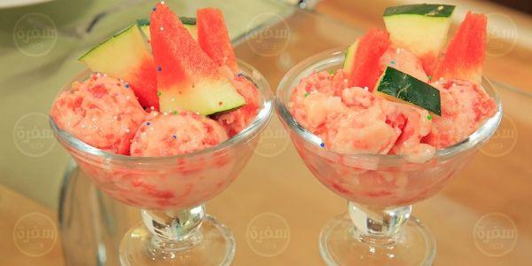 Cbc Sofra طريقة تحضير ايس كريم البطيخ اميرة شنب Recipe Ice Cream Desserts Cream