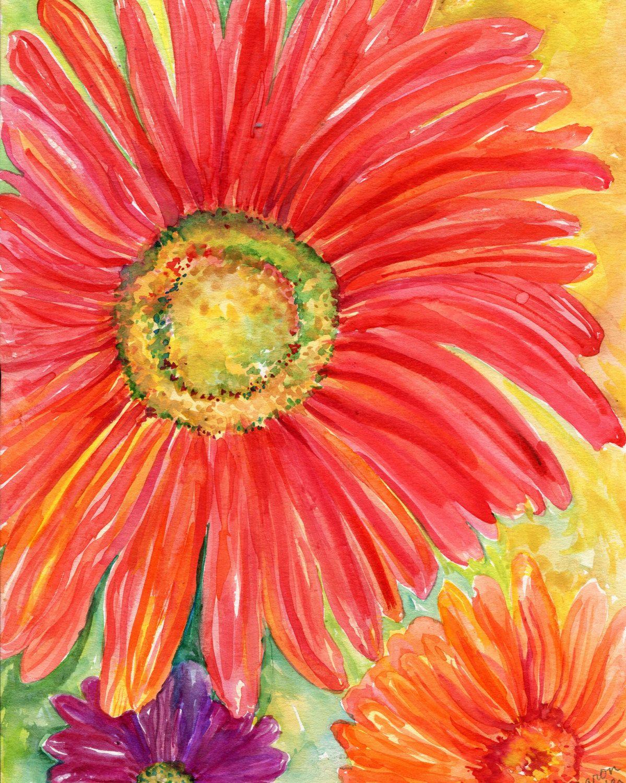 Red Gerbera Daisy Original Watercolor Painting 8 X 10 Flower