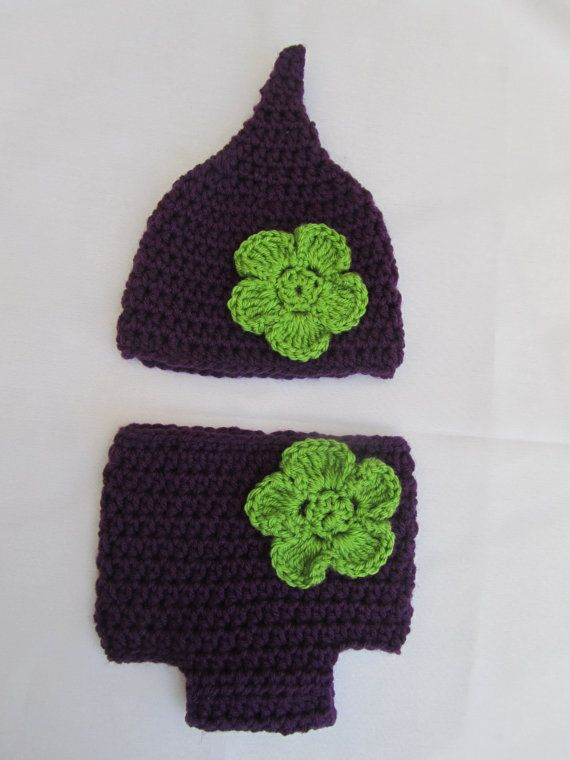 668cac04c69 Items similar to Gnome elf pointed newborn baby hat and diaper cover In  purple Infant violet purple pixie hat and diaper cover with a green flower  on Etsy