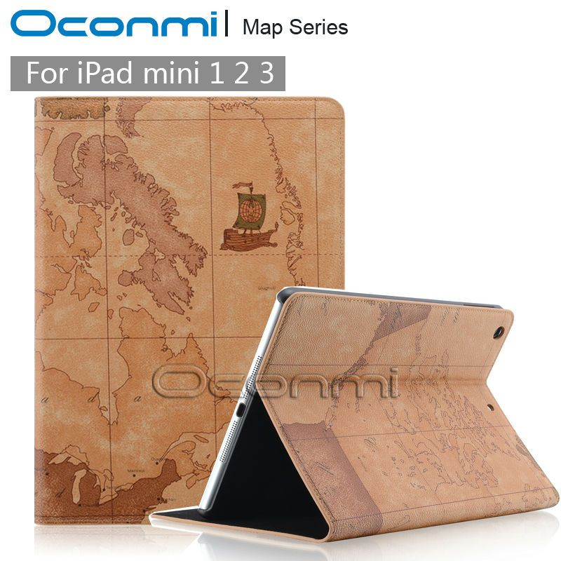Fahion World Map Leather case for Apple iPad mini 1 2 3 with - new apple app world map