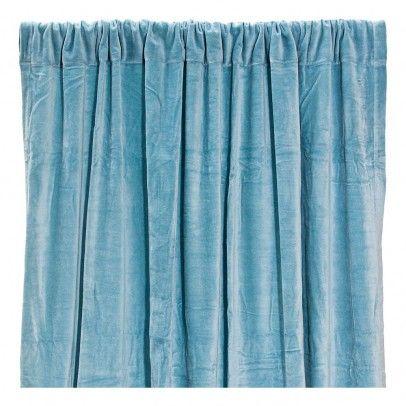 rideau occultant en velours de coton bleu gris babey pinterest rideaux rideau occultant. Black Bedroom Furniture Sets. Home Design Ideas
