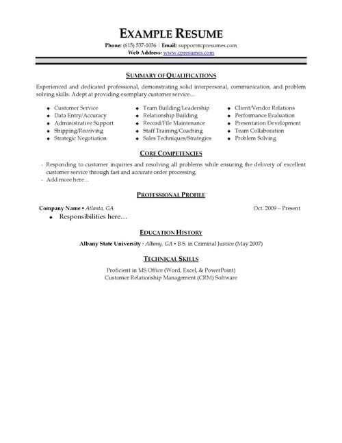 Free Resume Samples For Customer Service - http\/\/wwwresumecareer - criminal justice resume examples