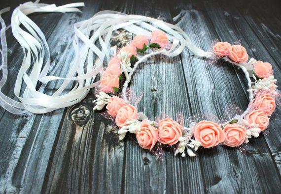 Flower girl crown Romantic Peach Rose Boho Headband by DoveGlove