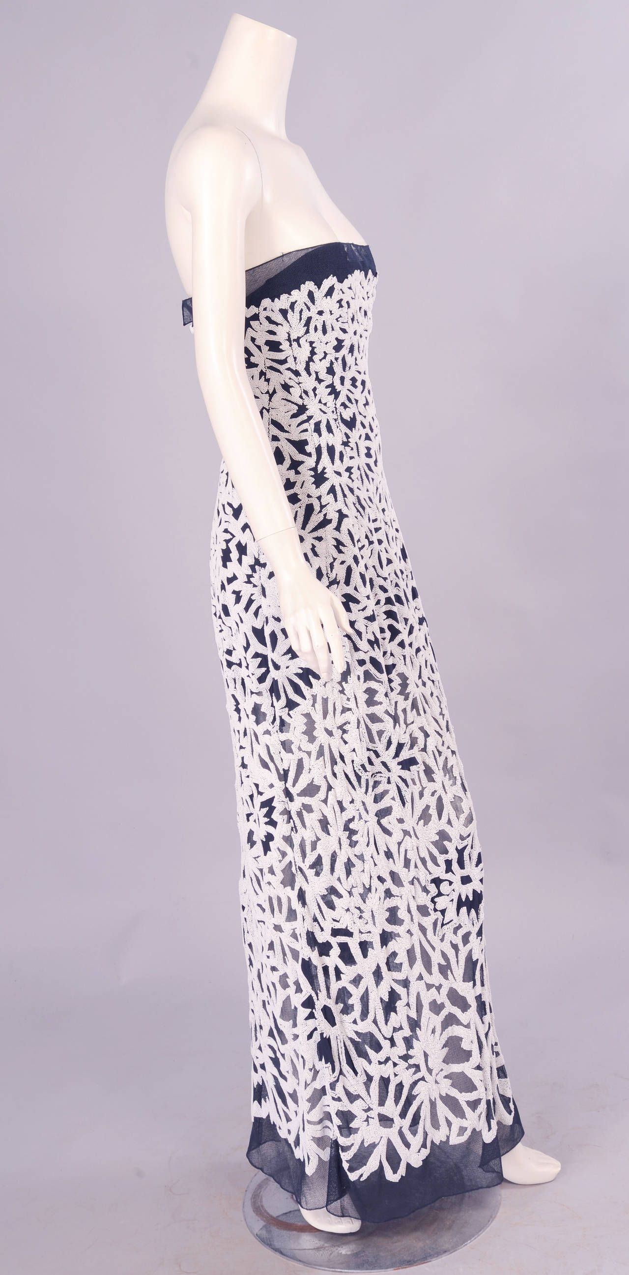 Chanel Haute Couture Lesage Beaded Strapless Evening Dress | From a collection of rare vintage evening dresses at https://www.1stdibs.com/fashion/clothing/evening-dresses/