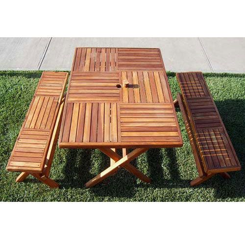 Redwood Outdoor Rectangle Folding Table Patio Furniture Wood
