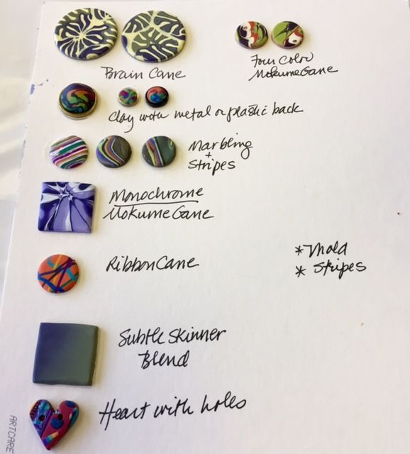 Susan GantzS Sample Sheet For Polymer Clay Classes At Artistic