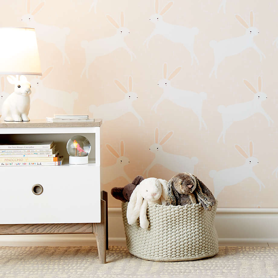 Chasing Paper Pink Leaping Bunnies Removable Wallpaper Crate And Barrel In 2020 Chasing Paper Nursery Wallpaper Bunny Wallpaper