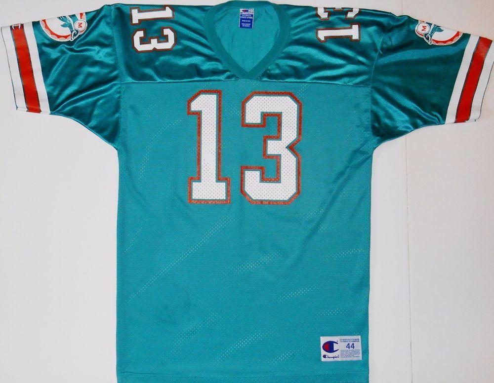f7187141f Vintage  13 Dan Marino Champion Miami Dolphins Green Jersey Size 44   Champion  MiamiDolphins
