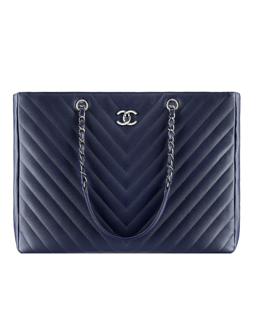 09b95e7f0672 New for Summer 2016-Large shopping bag, grained calfskin-navy blue - CHANEL