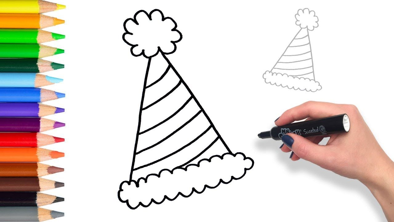 Learn How To Draw Party Hat Teach Drawing For Kids And Toddlers Colori Hat Drawing Birthday Hat Drawing For Kids