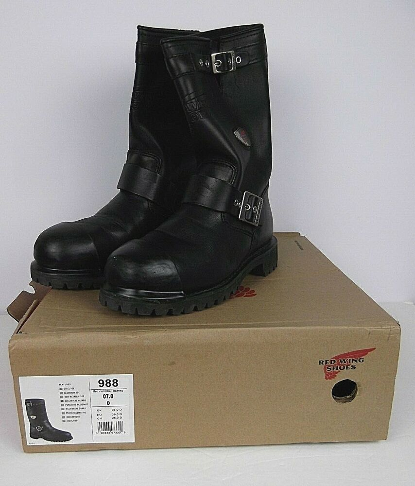 7d3653f03e2 Red Wing Boots Mens Work Black Size 7 Steel Toe Electrical Hazard ...