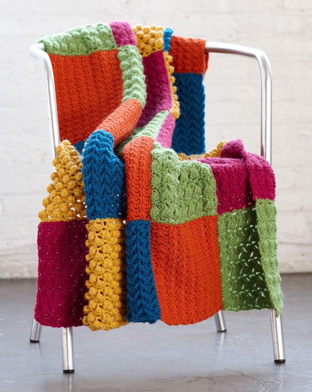 Crochet Sampler Throw -- Lion Brand Vanna\'s Choice -- Intermediate ...