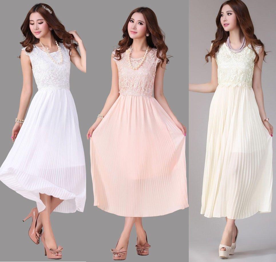 Hot womens sleeveless pleated maxi prom party evening chiffon summer