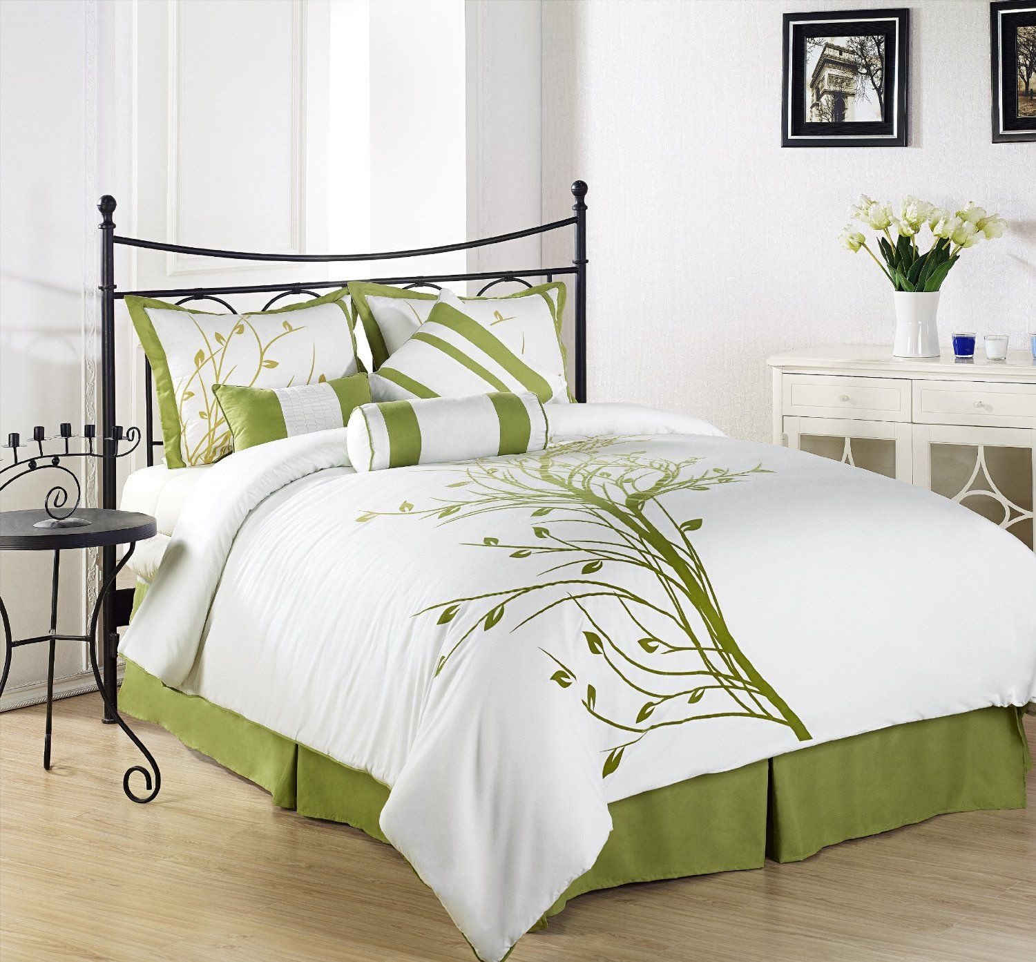 Bedroom colors green and white - Chezmoi Collection 7 Pieces Green Tree On White Queen Comforter Set