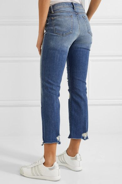 c0ba143d67c5c J Brand - Selena Distressed Cropped Mid-rise Bootcut Jeans - Mid denim -