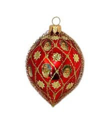 *ORNAMENT ~ Red Blown Glass Drop with Santas