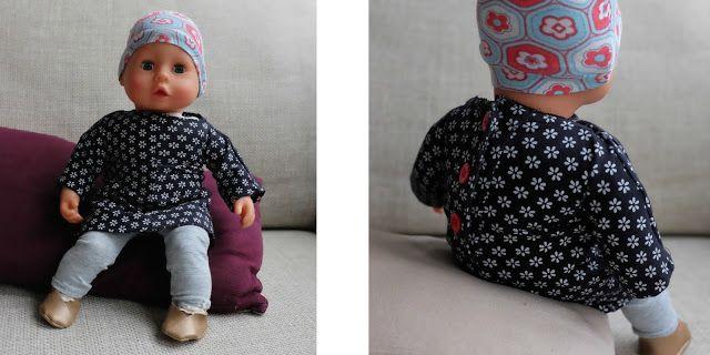 Fuchsgestreift: Ein neues Outfit für die Puppe. Zum Glück wird in unserem Hause so gut wie kein Stöffchen weggeworfen und ich konnte für Baby eine kleine Kollektion analog zu Pumbas Kleidern schneidern!