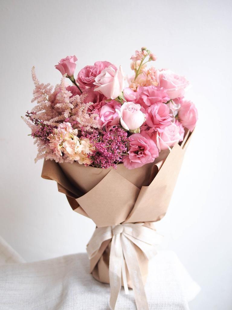 New Monochrome Pink Birthday Flowers Bouquet Flowers Bouquet Gift Flowers Bouquet