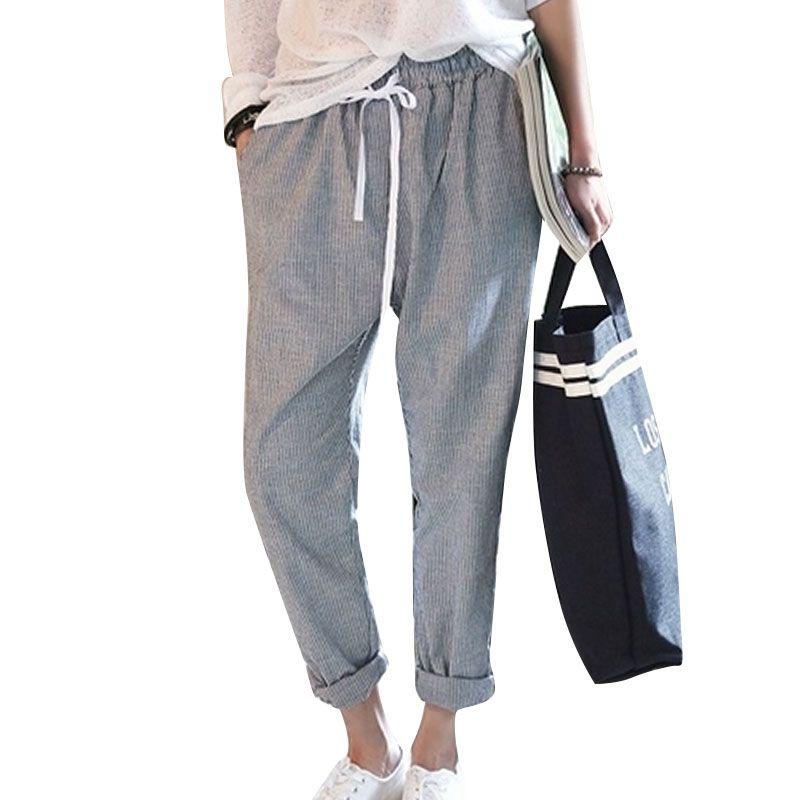 새로운 패션 바지 여성 코튼 Haram 바지 스트라이프 캐주얼 바지 여성 바지 회색 Calcas femininas 슬림핏 플러스 사이즈 S-2XL
