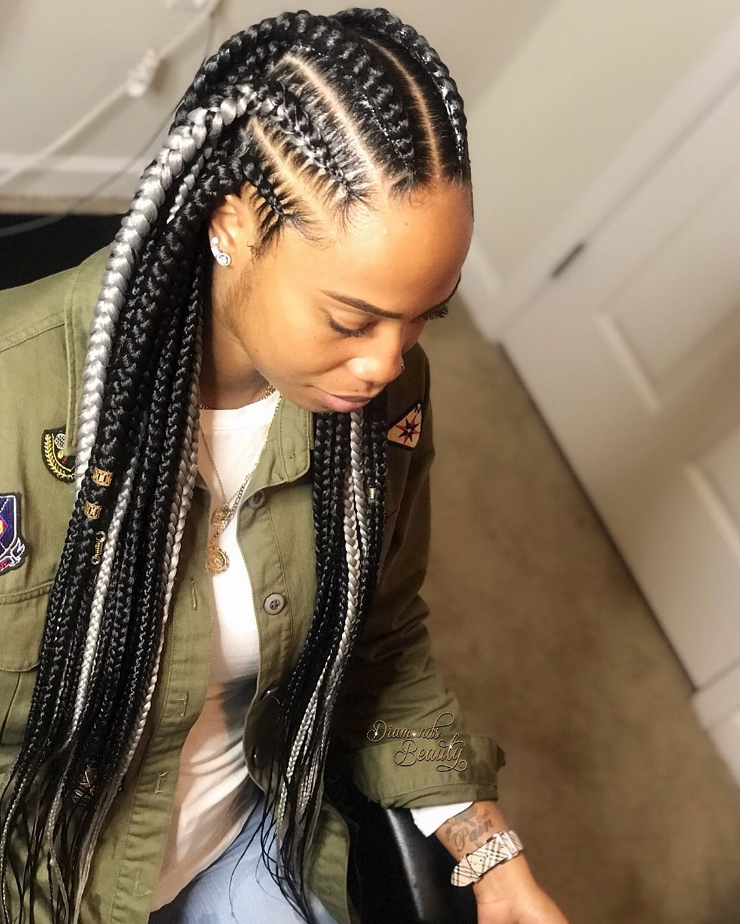 13+ Box braids in the back and cornrows in the front trends