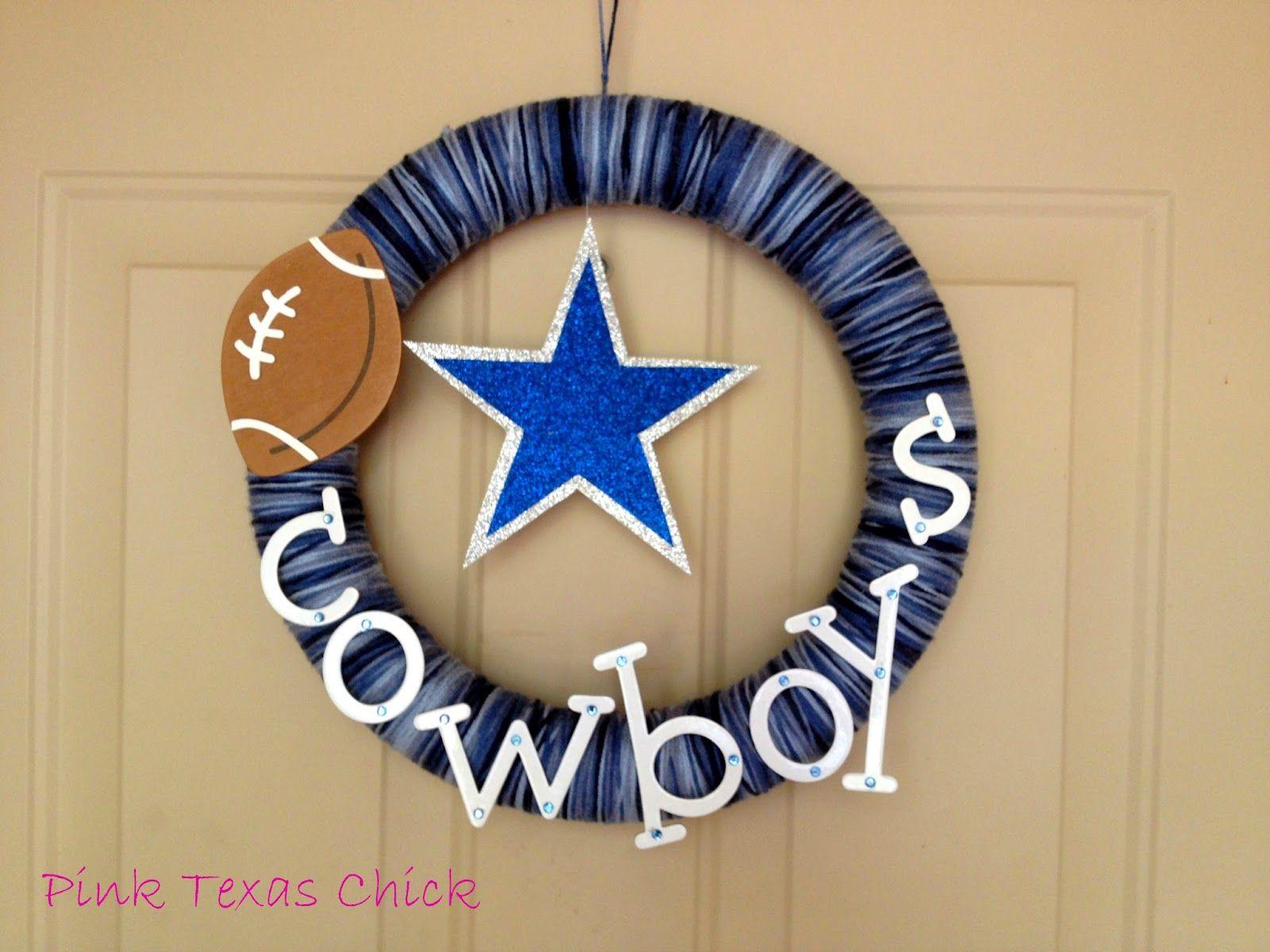 Pink Texas Chick: Dallas Cowboys Yarn Wreath {Craft DIY
