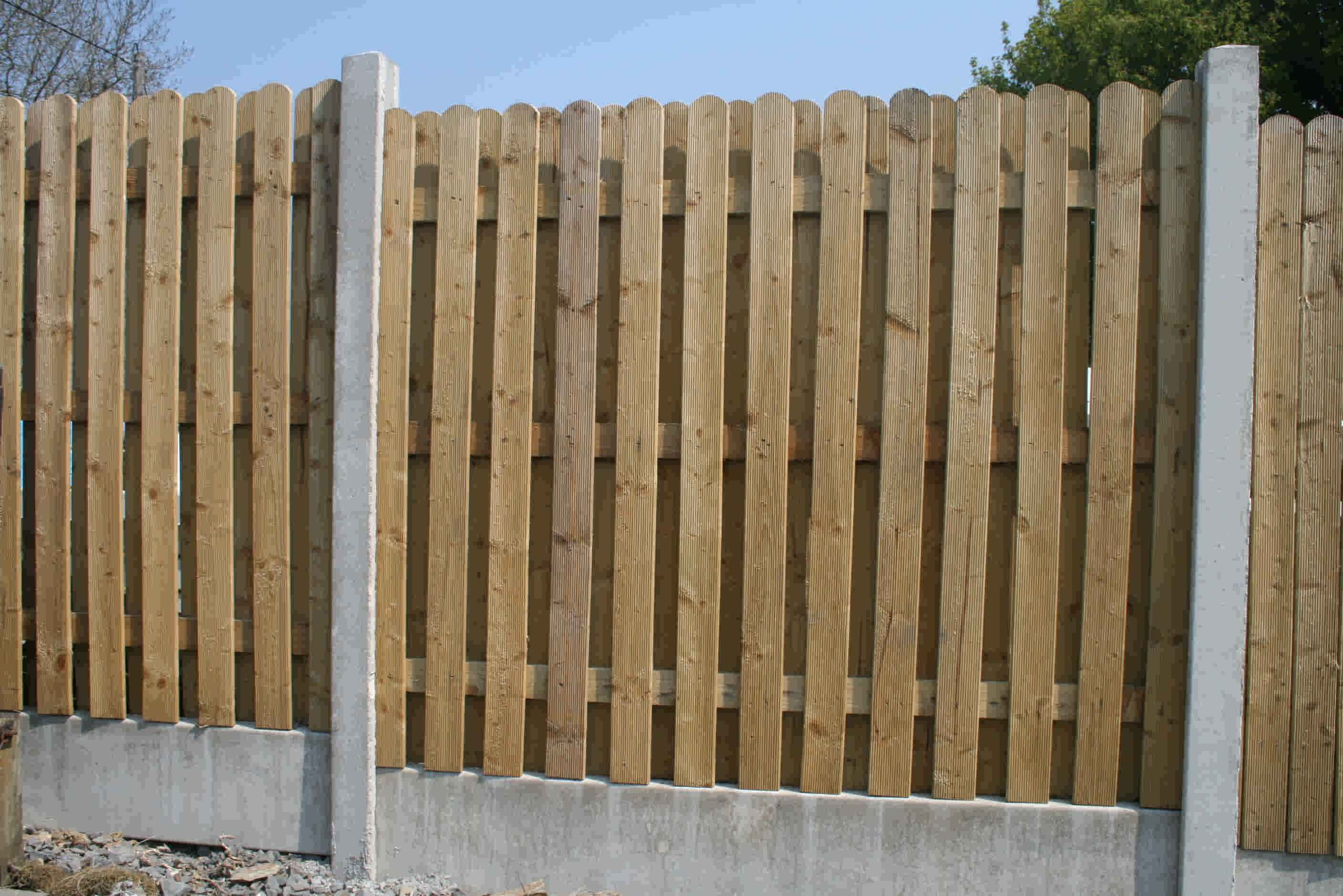 Wood Fence Panels Sale Double Side Rib Picket 2 inch space2