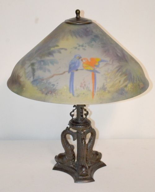Sold Price Antique Bronze Dolphin Lamp With Pairpoint Carlisle Jungle Birds Shade There Are 3 Figural Dolphins On The Signed Base The Shade Is Decorated With Lamp Antiques Antique Bronze