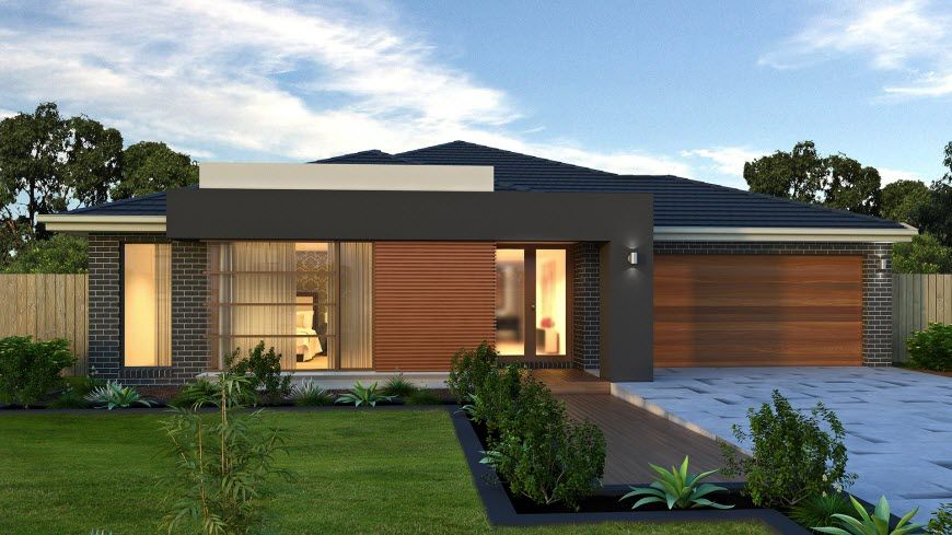 Dise o de casa de una planta con planos fachada con for Diseno de fachadas