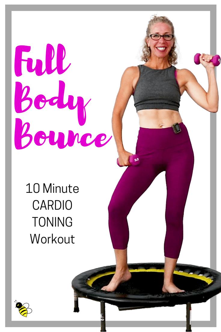 Ganzkörper BOUNCE | SPASS 10 Minuten CARDIO TONING Rebounder Workout | STAPELBARE Mini-Trampolin-Rou...