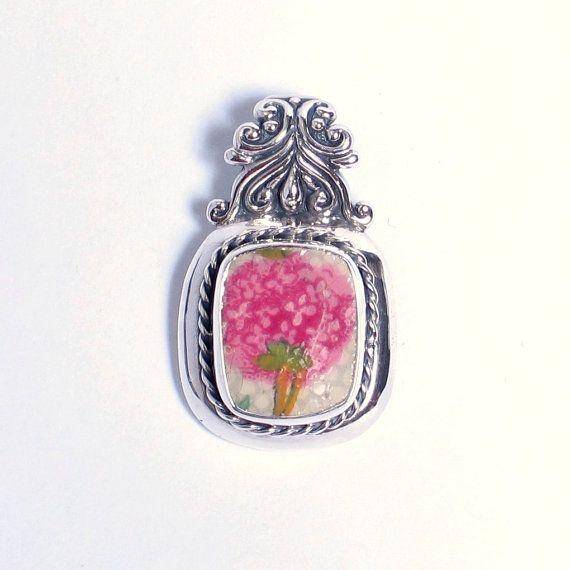 Broken China Jewelry - Pink Hydrangea Grimwades Old Cottage Chintz  - Sterling Pendant