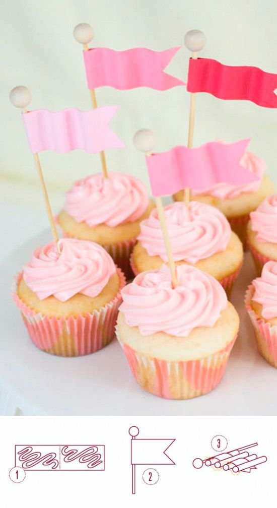 Wavy flag cupcake toppers