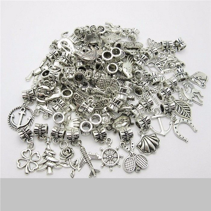 Lot Tibetan Silver Retro Gothic Charms Pendant DIY Crafts Jewelry Bracelet Beads