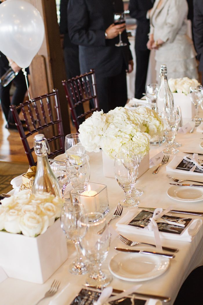 simple, chic, engagement party table decor