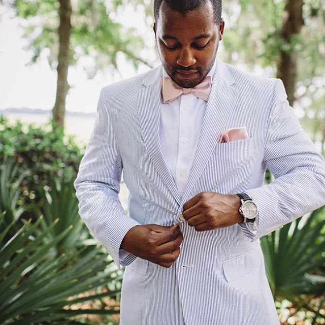 Southern Groom Wedding Attire With Seer Er Suit Pink Bowtie And Handkerchief In His Pocket Standing The Beautiful Garden At Creekclubation