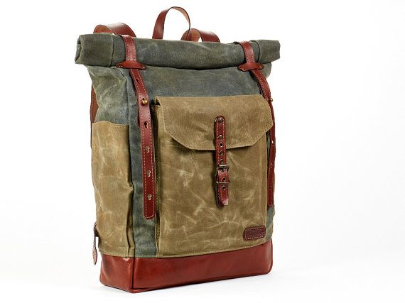 Green Waxed Canvas Backpack Waxed Canvas And By Innesbags Bolso