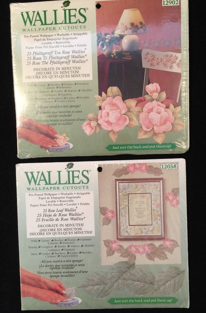 Wallies Wallpaper Cutouts Set Of 2 New Tea Rose And Leaf 12902 12058 Traditional