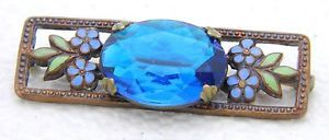 Antique-Victorian-Art-Nouveau-Gold-Tone-Enamel-Blue-Glass-Floral-Pin-Brooch