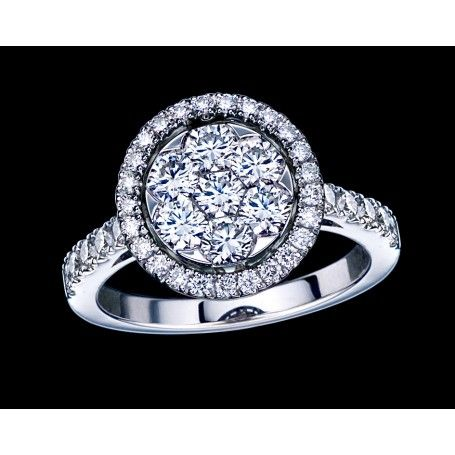 Diamond Cluster Ring With Invisible Set Technology