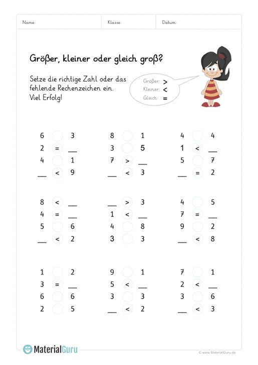Arbeitsblatt: Größer & Kleiner - Zahlenraum 10 - Mix | Schule und ...